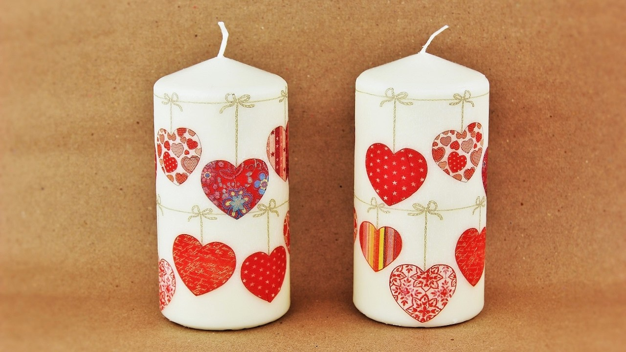 How to make a decoupage candles - Fast & Easy Tutorial - DIY