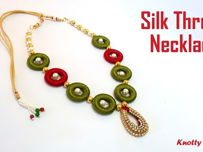 How to make a Silk Thread Necklace using 2 Holed Donuts and Pearls | Tutorial | Knotty Threadz !!