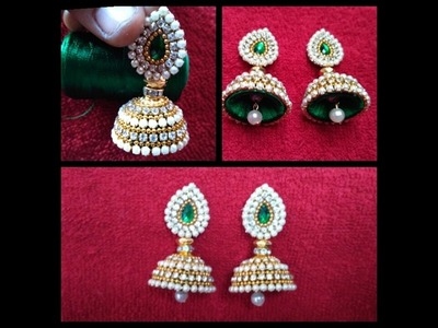How To Make Bridal Jhumkas At Home. DIY. Simple and Beautiful Silk Thread Earrings. tutorial