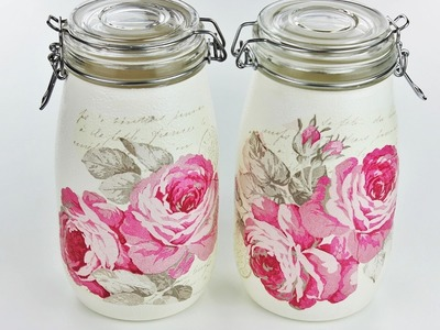 How to make decoupage jars - Fast & Easy Tutorial - DIY