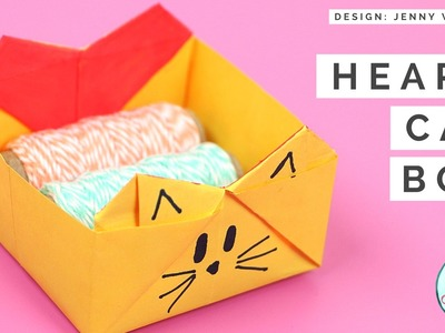 Origami Heart Cat Box - DIY - Collab with Paper Kawaii (Origami Cat Heart)
