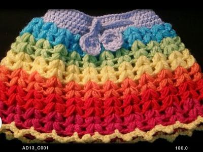Very easy  crochet puff stich  baby skirt