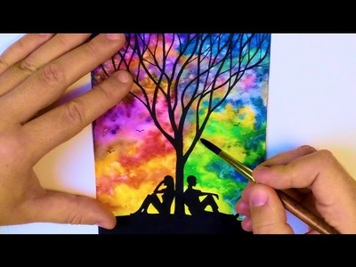 WATERCOLOR PAINTING Easy Tutorial landscape - HOW TO PAINT a TREE, SKY