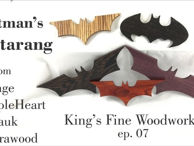 07 How to Make Batman's Batarang from Wenge Padauk PurpleHeart & Zebrawood