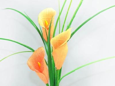 25: Làm hoa RUM bằng giấy nhún - How to make Calla lilies paper flower