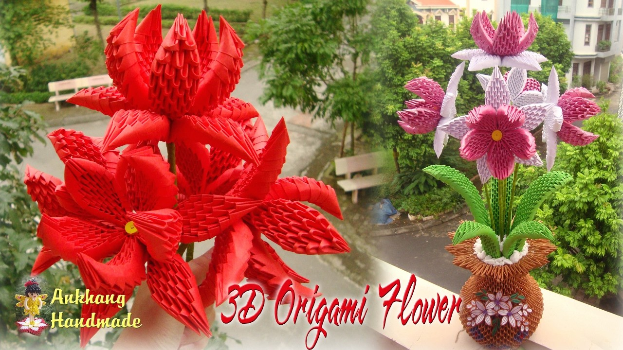 3d Origami Flower 2 Collection Paper Flower Handmade Decoration