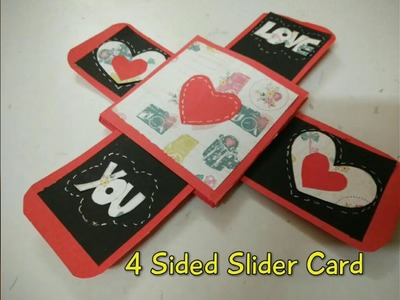 4 Sided Slider Card For Valentine's Day | How To | Craftlas