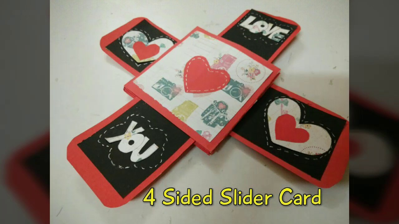 4 Sided Slider Card For Valentine's Day   How To   Craftlas