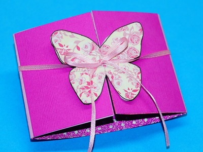 Butterfly card - learn how to make this butterfly paper crafts. Greeting card making. Julia DIY