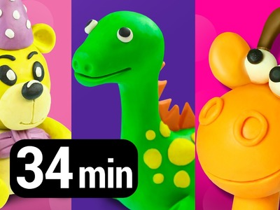 Collection of Play Doh Videos creative DIY fun for Kids | Learn colors numbers shapes animals