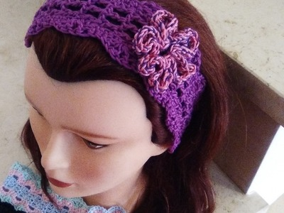 CROCHET HEADBAND all sizes WITH FLOWER English tutorial