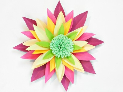 Dahlia paper flower diy making tutorial. Paper flowers decorations easy for children, for kids