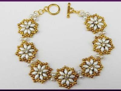 DIY | Armband aus Perlen und Twin beads basteln | Beaded bracelet with pearls and rhinestones