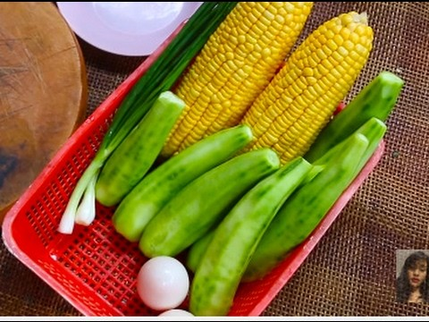 Home Village Food,How To Make Fired Eggs With Gourd And Corn, Yummy And healthy Food
