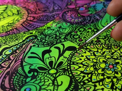 How I draw a Zentangle.Doodle Art on Neon Acrylic colored page Speed Drawing.Time Lapse