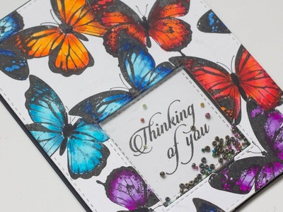 How to create a stamped butterfly background using masking technique