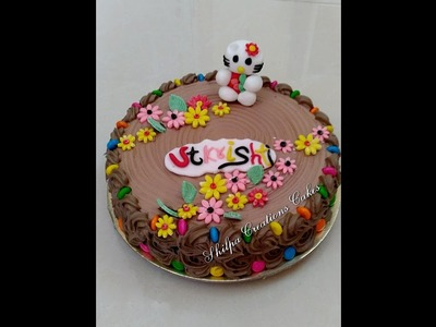 How to decorate Eggless Chocolate cake with Kitty kat
