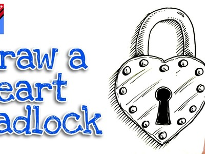 How to draw a heart shaped padlock real easy for kids and beginners