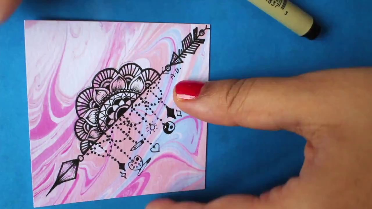 How to Draw: A Mandala Arrow Design. Surely Simple {on Marbled Paper}