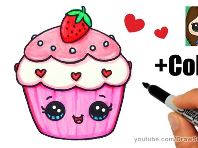How to Draw + Color a Cupcake Easy - Valentine's Sweet