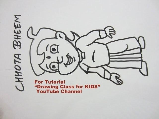 How to Draw- Cute CHHOTA BHEEM Cartoon Step by Step Tutorial for Kids