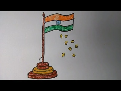 How to draw Indian Flag step by step very easily for kids