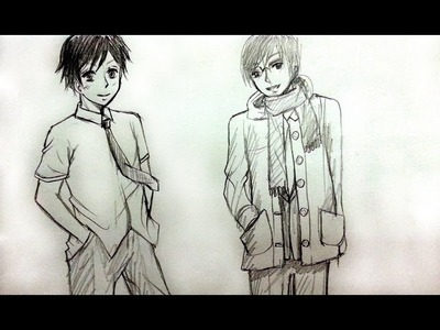 How to Draw Male School Uniforms - Slow (Real time)