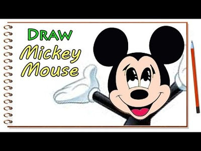 How to Draw Mickey Mouse Face - Walt Disney Characters Drawing
