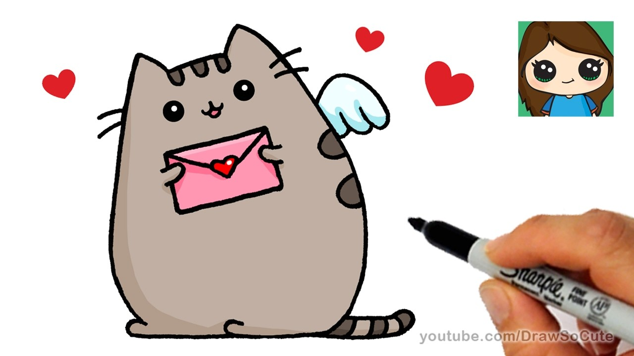 how to draw pusheen cat valentines love easy