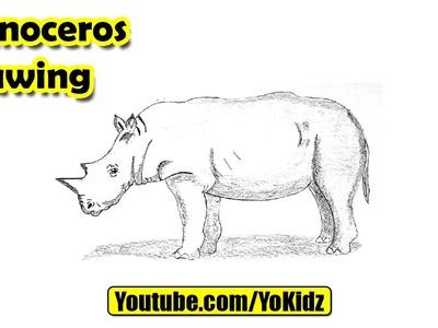 How to draw Rhino or Rhinoceros