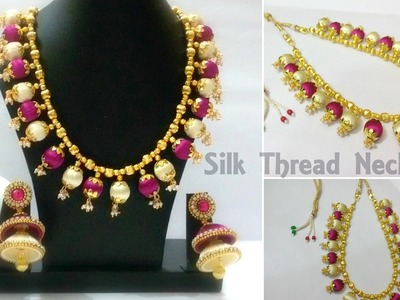 How to make a Designer Silk Thread Necklace with Loreals at Home | Tutorial | Knotty Threadz !
