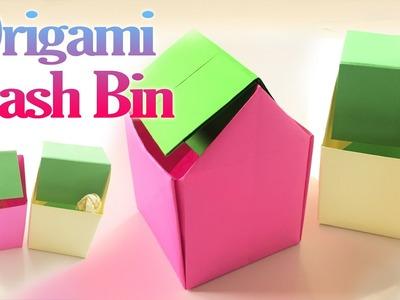 How to Make an Origami Trash Bin Step by Step | Paper Trash Bin Tutorial | Origami VTL