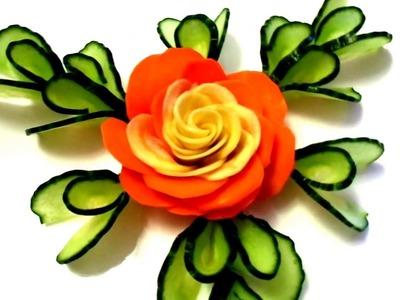 HOW TO MAKE CARROT ROSE FLOWER - CUCUMBER DESIGN LEAF & VEGETABLE CARVING GARNISH ART