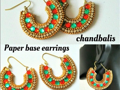 How To Make Chandbali Earrings||Made out of paper|Chandbali Earrings (Tutorial)