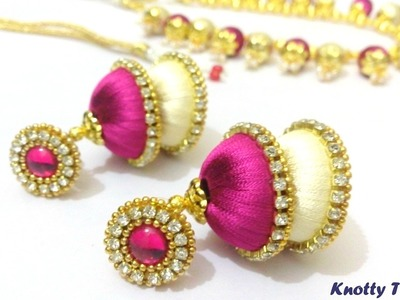 How to make Dual Colored Silk Thread Jhumkas  at Home | Tutorial | Earrings | Knotty Threadz !