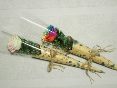 How To Make Flower Bouquet With Single Rose #2