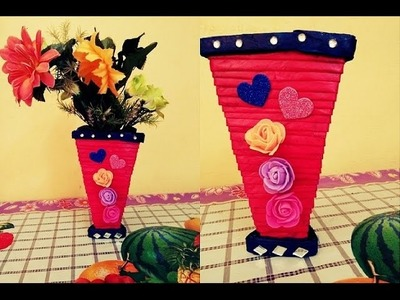 How to make newspaper flower vase I DIY newspaper crafts | Easy made unique flower vase