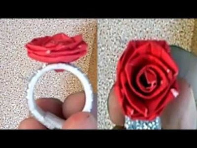 How to make Paper Flowers Ring | Ring Rose | Paper made | diy flower from paper | simple rose