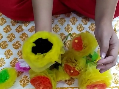 How to make plastic flowers in dual colour