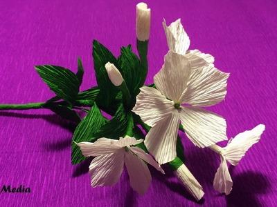 How to make pretty sadabahar crepe paper flower easy.DIY origami paper flower folding tutorials