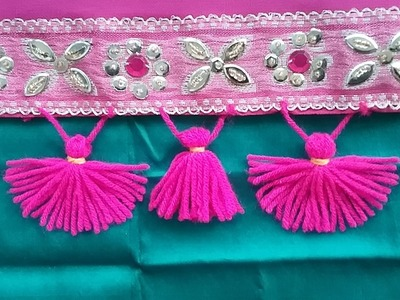How to make saree kuchu easily with wool.yarn l crochet edge kuchu on fabric l saree kuchu design#13