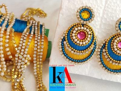 How to make Silk Thread Chandbali earrings. chandbali silk thread earrings. DIY