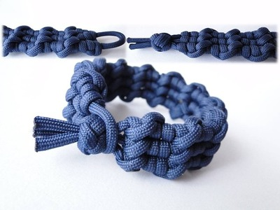 """How to Make the """"Ocean Waves"""" Diamond Knot and Loop (without buckle) Paracord Survival Bracelet"""
