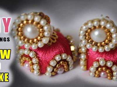 How to make thread Pearls jhumkas at home | latest thread  jhumkas designs | zooltv