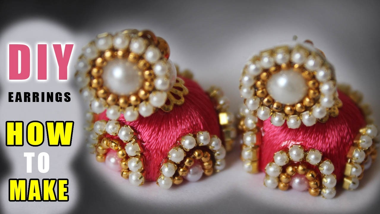 How to make thread Pearls jhumkas at home | latest thread  jhumkas designs | zooltv
