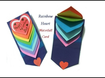 How to make Waterfall card. Cascade card || Waterfall card tutorial || Valentine card || Craftastic