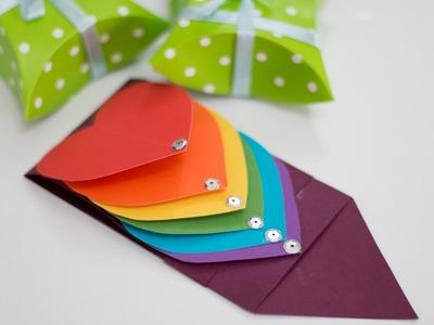How to Make Waterfall Card - Rainbow Heart