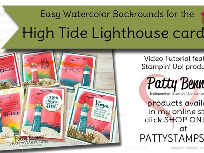 How to stamp the High Tide Lighthouse and watercolor background from Stampin' UP!