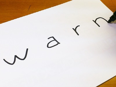 How to turn words WARN into a Cartoon -  Let's Learn drawing art on paper for kids