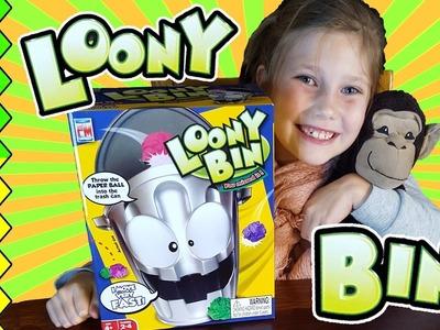 LOONY BIN kids gaming fun and FUNNY DANCE! Throwing paper in the trash. Family fun game!